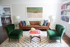 We love how Emily Schuman via Cupcakes & Cashmere decorated her living room.