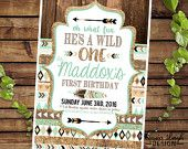 Tribal Birthday Printable Invitations - brown mint teal and gold - Tribal Party- Printable Digital Files