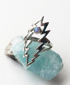 Grateful Dead Sterling Silver Lightning Bolt Ring with Opal Stone Size 8 by 100mics on Etsy