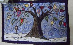 whimsy treeHand hooked rugfree shipping by AccentsByAbby on Etsy,