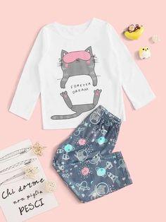 Style: CuteColor: MulticolorPattern Type: CartoonNeckline: Round NeckType: Pajama SetsSleeve Length: Long SleeveComposition: Polyester, SpandexMaterial: PolyesterFabric: Fabric has some stretchSheer: Yes Kids Nightwear, Cute Sleepwear, Girls Sleepwear, Loungewear, Cute Pajama Sets, Cute Pajamas, Cute Pjs, Pj Sets, Stylish Toddler Girl