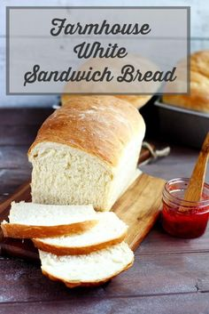 Farmhouse White Sandwich Bread - A delicious soft white bread that& perfect for sandwiches, toast, and grilled cheese. Country style homemade all purpose bread. Makes 3 loaves. Great to freeze or share. Sandwich Bread Recipes, Yeast Bread Recipes, Bread Machine Recipes, Baking Recipes, Best Loaf Bread Recipe, White Bread Recipes, Soft White Bread Recipe, Baking Ideas, Homemade White Bread