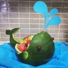 Hand carved watermelon whale for a 1st birthday party. www.watermelonfriends.com.au