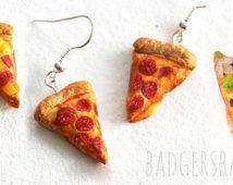miniature PIZZA earrings - pepperoni, hawaiian, vegetarian - choose your flavor - dangle or studs - food jewelry