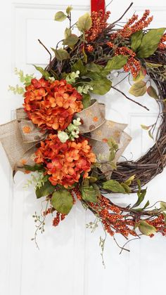Grapevine Orange Hydrangea with Burnt Orange Berry Wreath.Mothers Day Gift.Spring Wreath.Summer Wreath.Fall Wreath.Front Door Wreath. by WreathdesignsbyJulma on Etsy