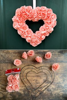 DIY Dollar Store Valentine's Day Heart Wreath Decoration. There are so many great Valentine crafts at the Dollar Tree right now! During our last trip, we picked up a few supplies to make this super quick and easy foam rose heart wreath.  We made this wreath for only $7 in materials!