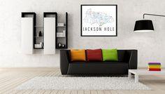 Jackson Hole Ski Map Art, Trail Map, Print, Poster.
