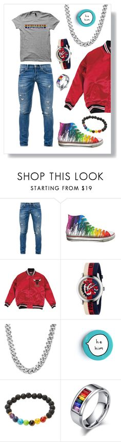 """""""He 👱♂️ Him"""" by curlyelizabeth ❤ liked on Polyvore featuring Dondup, Converse, Mitchell & Ness, Gucci, West Coast Jewelry, Jean Claude, men's fashion and menswear"""