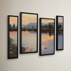 "Three Posts Tranquil Evening 4 Piece Framed Photographic Print Set Size: 54"" H x 36"" W x 2"" D"