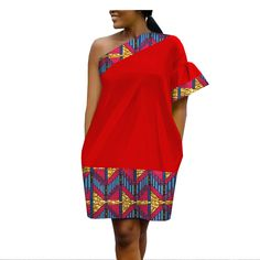 African Ankara one shoulder flare sleeve above-knee length casual dress