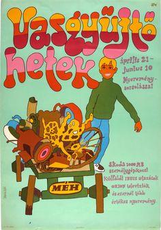 Darvas Árpád - 1969 Scrap metal collection weeks Hungarian pop art poster