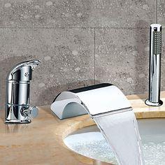 Moderni Roomalainen kylpyamme Vesiputous Widespary with Keraaminen venttiili Kaksi kahvaa kolme reikää for Kromi Ammehanat