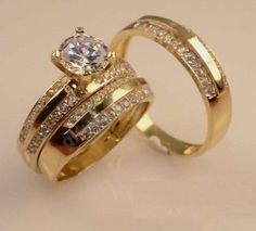 His & Hers Yellow Gold Over Diamond Solitaire Engagement Wedding Ring Trio Set Wedding Rings Solitaire, Round Diamond Engagement Rings, Gold Wedding Rings, Band Engagement Ring, Wedding Rings For Women, Bridal Rings, Diamond Wedding Bands, Wedding Engagement, Wedding Set