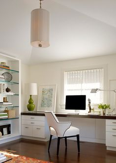 Long Contemporary Home Office Desk Design, Pictures, Remodel, Decor And  Ideas