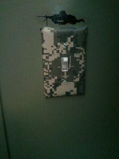 Lightswitch I made to match boys military theme room