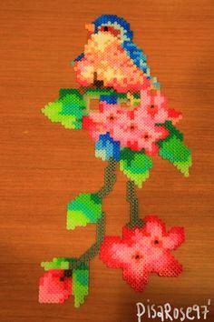Bird and flowers perler bead art (hama mini) by on deviantART Diy Perler Beads, Perler Bead Art, Hama Mini, Hama Beads Patterns, Beading Patterns, Diy Arts And Crafts, Bead Crafts, Peler Beads, Fusion Beads