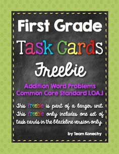 First Grade Freebie - This set of 10 task cards will help your students better understand addition within 10 to solve word problems. Use these cards in a multitude of ways...whole class, small group instruction or independent practice. Task cards are a fun way for kids to practice key skills without being overwhelmed by so many problems on a worksheet.