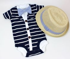 Cardigan and Bow Tie Set - Navy with Seersucker - Trendy Baby Boy - Perfect for Spring Shower