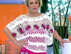 crochelinhasagulhas: Blusa de crochê de grampo ou crochê peruano da Ana Maria Braga