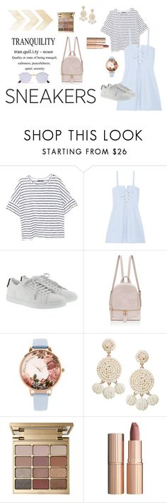 """""""casually cute: white sneakers"""" by angelaskyler on Polyvore featuring MANGO, Solid & Striped, Yves Saint Laurent, Olivia Burton, Humble Chic, Stila, Charlotte Tilbury and Ray-Ban"""