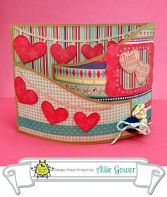 Valentine Bendy Card for @Karen Darling Space & Stuff Blog Walker Blog: Sloped Bendi Card #53881 with Heart Pennant Flags #54446