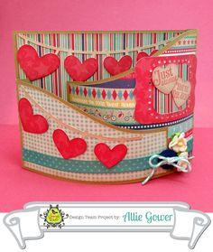 Valentine Bendy Card for @Karen Jacot Darling Space & Stuff Blog Walker Blog: Sloped Bendi Card #53881 with Heart Pennant Flags #54446