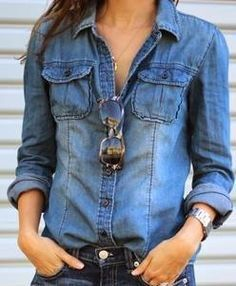 7f068bed Details about Retro Women Casual Blue Jean Soft Denim Long Sleeve ...