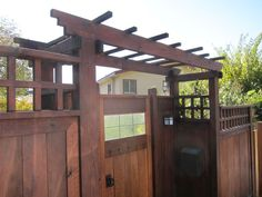 Smooth Redwood Fence With Intercom And Stain Fence