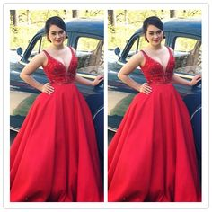 Red Sexy Real Made Prom Dresses