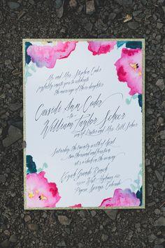 Watercolor floral invitations.