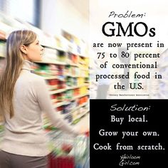 GMO's present in 75-80% of commercial processed food in the USA.