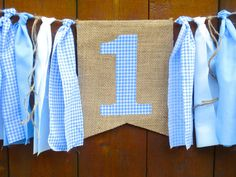 Teddy Bear Picnic Birthday Banner High Chair Highchair Garland Bunting Peter Rabbit First One Decor Cake Smash Light Blue Gingham Spring