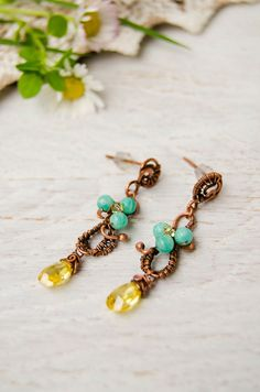 Long stud earrings with yellow zircone and amazonite flowers, romantic blossom flowering jewelry