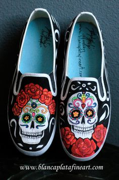 Custom Hand Painted Shoes, Sneakers Flats Slip Ons Day of  the daed by Blanca Plata