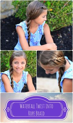 An EASY perfect summer do.  5 mins too! #hairstyles #hairstyle #waterfalltwist #waterfall #cutegirlshairstyles #cutehairstyles #twist #ropetwist #summer