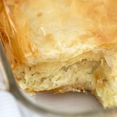 Cheese-filled Serbian Gibanica is savory, slightly salty and totally addictive. Perfect party food or for a brunch or dinner. Bulgarian Recipes, Croatian Recipes, Croatian Cuisine, Swedish Recipes, Turkish Recipes, Gibanica Recipe, Macedonian Food, Puff Pastry Recipes, Savory Pastry