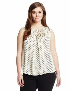 Jones New York Women's Plus-Size Abby Pleatt Neck Shell Blouse
