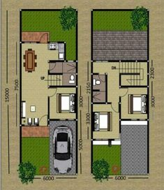 Bungalow Floor Plans, Small House Floor Plans, Two Storey House Plans, Building A Small House, Narrow House Designs, Compact House, Duplex Plans, Simple House Design, Sims House