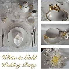 White-and-gold wedding party