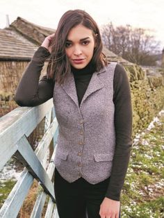 Knitting pattern for a textured waistcoat in moss stitch with rever collar and faux pockets using Rowan Valley Tweed. See our great prices and fast service. Knitting Patterns, Crochet Patterns, Moss Stitch, Summer Patterns, Rowan, Tweed, Collars, Knit Crochet, Pockets