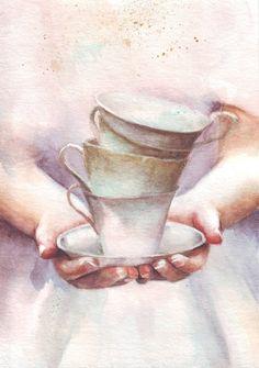 HM107 Original painting watercolor art Woman with tea от HelgaMcL