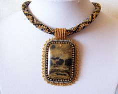 Beadwork Bead Embroidery Pendant Necklace with Chohua Jasper - GOLDEN DREAM - grey - black - gold - modern necklace - beadwork necklace