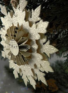 paper snowflakes with glitter!
