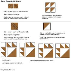Bears Paw Quilt Block Pattern Instructions In 3 Sizes