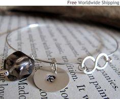 Items similar to Smoky Topaz Bangle Bracelet - Personalized Initial Sterling Silver Bracelet - Infinity Jewelry Line on Etsy Silver Bangle Bracelets, Bangles, Infinity Jewelry, Smoky Topaz, Topas, Beaded Jewelry, Initials, Etsy, Beads