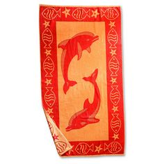 Simple Luxury Superior Dolphin Beach Towel Color: Red