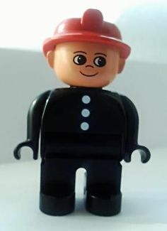LEGO Duplo Figure, Fireman, Black Top with 3 White Buttons, Red Fire Helmet