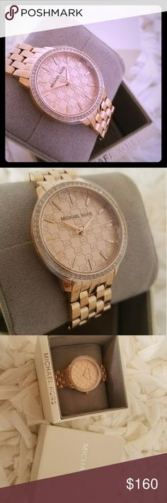 NWT Michael Kors Rose Gold Rhinestone Watch Beautiful NWT Michael Kors Rose Gold Rhinestone Watch in box.  Plastic protector still on the face of the watch. Michael Kors Accessories Watches