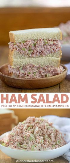 Ham Salad is a delicious appetizer or sandwich filling (perfect for holiday left. Ham Salad is a delicious appetizer or sandwich filling (perfect for holiday leftovers!) made with diced ham, relish, Mayonnaise, Ham Salad Recipes, Honey Baked Ham Salad Recipe, Heavenly Ham Salad Recipe, Easy Ham Recipes, Ham Sandwich Recipes, Seafood Recipes, Beef Recipes, Roast Beef Sandwich