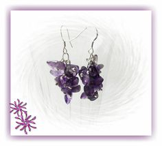 These lovely February birthstone earrings are made with genuine amethyst gemstone chips.  Amethyst is medium to dark purple.  Earrings measure a